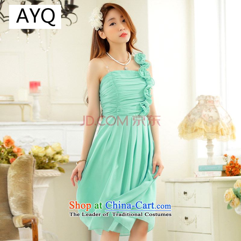 Hiv has been qi spring and summer Korea version thin shoulder chiffon small dress bridesmaid show services marriage xl strap dresses�9831A-1�blue are code