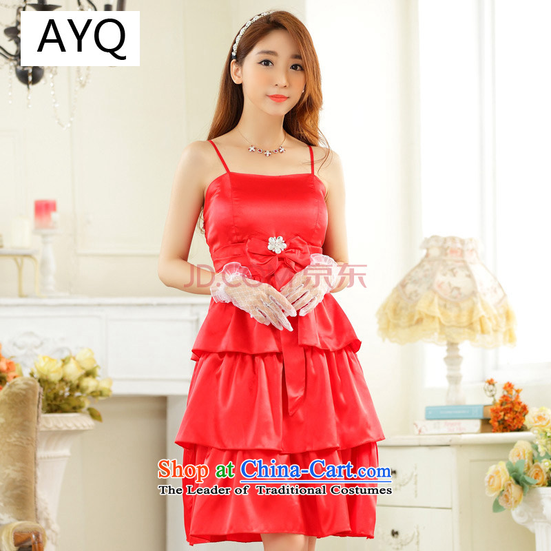 Hiv has anointed summer qi chest evening dresses bridesmaid skirt xl female Foutune of video thin princess skirt cake skirt strap dresses?9923A-1?RED?XXL