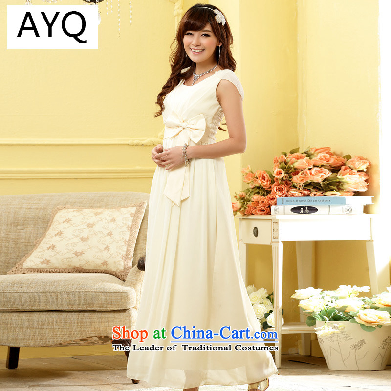 Hiv has stylish and elegant dinner Qi Foutune of long gown larger chiffon dresses gown skirt?9902A-1??XXXL champagne color