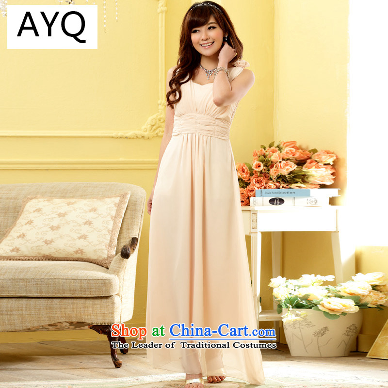 Hiv has been Qi Niba cuff round-neck collar nail pearl night dancing elegance long version of the larger women's dress dresses?9807A-1??XXXL champagne color