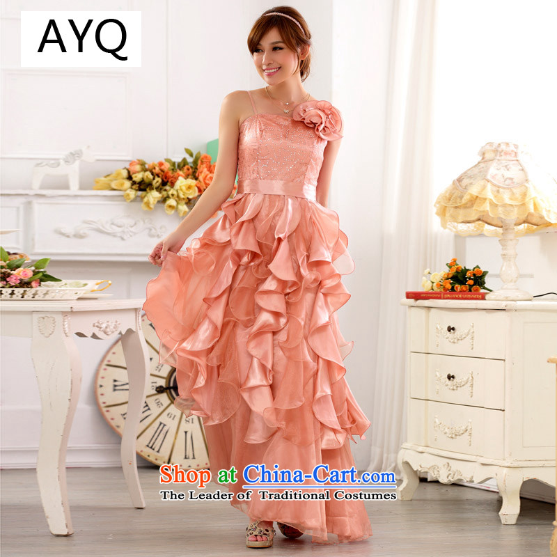 Hiv has increased women's code of qi evening performances services nightclubs skirt large Princess on the lifting strap is skirt long evening dresses dresses 9723A-1 pink XXL