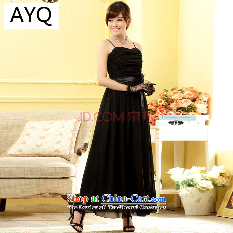 The Korean version of HIV have been women's Qi dress foutune dovetail chiffon dresses evening banquet bridesmaid dress?9809A-1?black?XXL