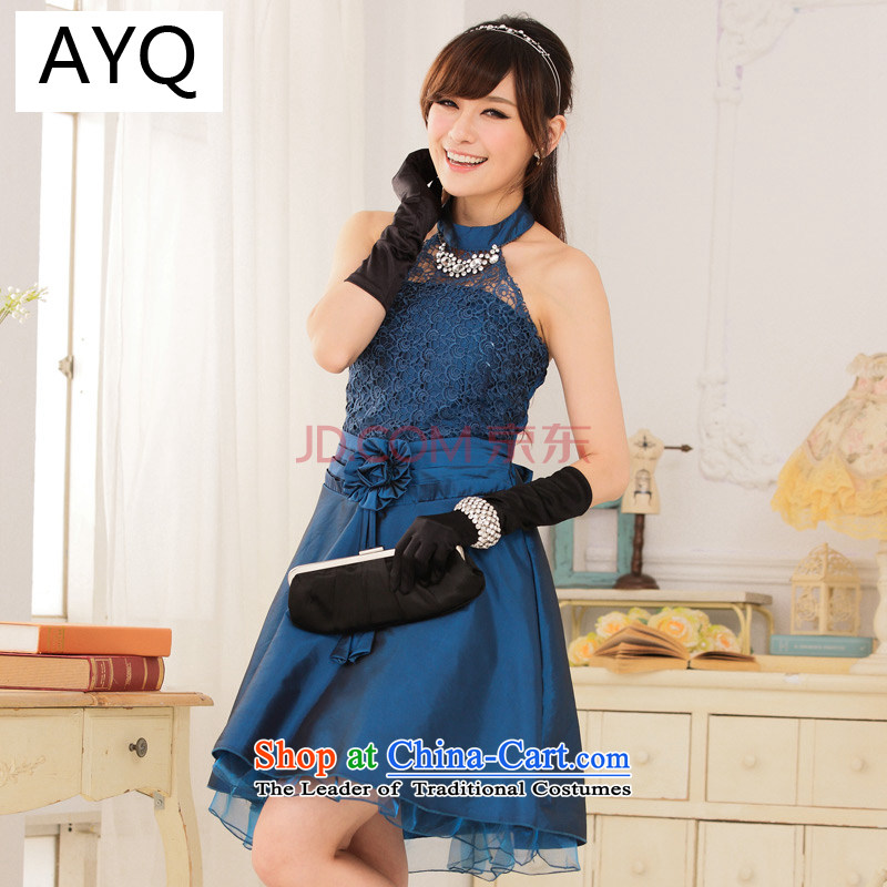 Hiv has large Qi Women's Night Ball Court wind-waist high lace hangs graphics also dress princess dresses�9114A-1��XXXL blue