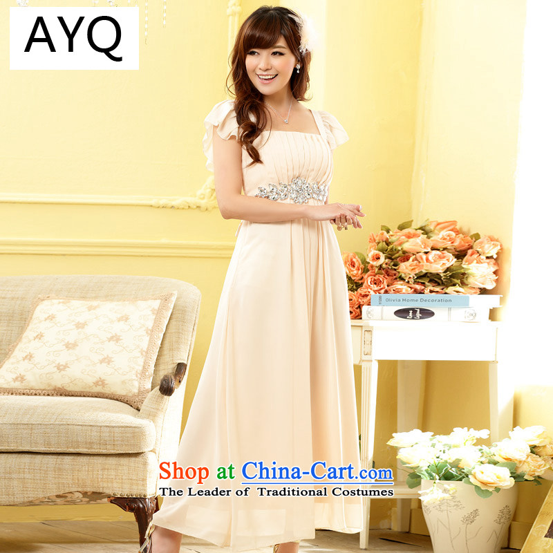Hiv has high-drill one qi field for the chiffon long skirt evening dress bridesmaid wedding dresses larger?9802A-1?champagne color are code