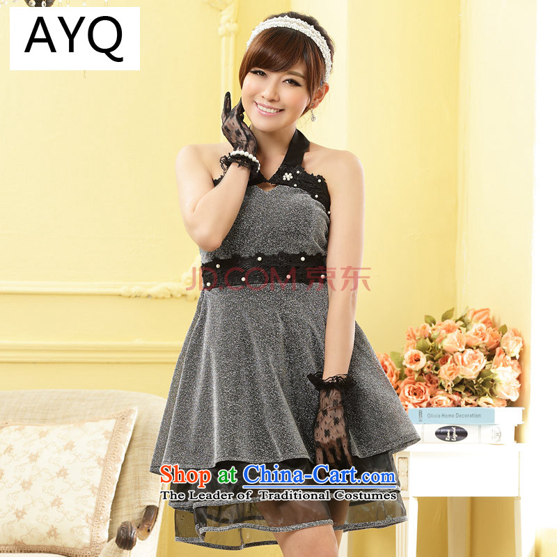 Hiv has also dress Princess Hang Qi stapled bead nightclubs a thin waist ladies dress skirt�9800A-1��XXXL Silver