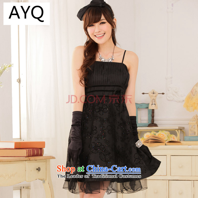 Hiv has Korean retro-Qi Hua thin waist straps wedding dress evening drink service dresses 9115A-1 Black XL