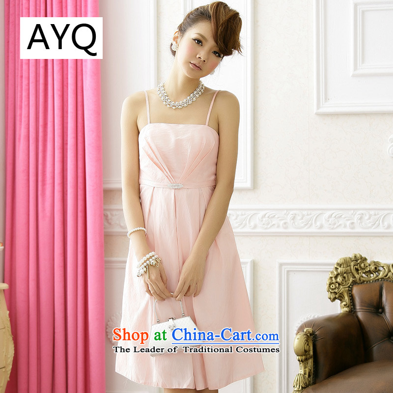 Hiv has been married qi bridesmaid sister skirt minimalist diamond strap evening dress small dresses? 9511A-1?pink are code