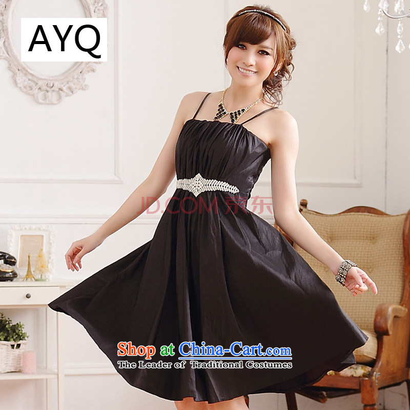 Hiv has been qi stylish and simple Wah Kwai-loaded thin waist belt drill lifting strap court dress princess dresses聽9509A-1聽Black聽XL