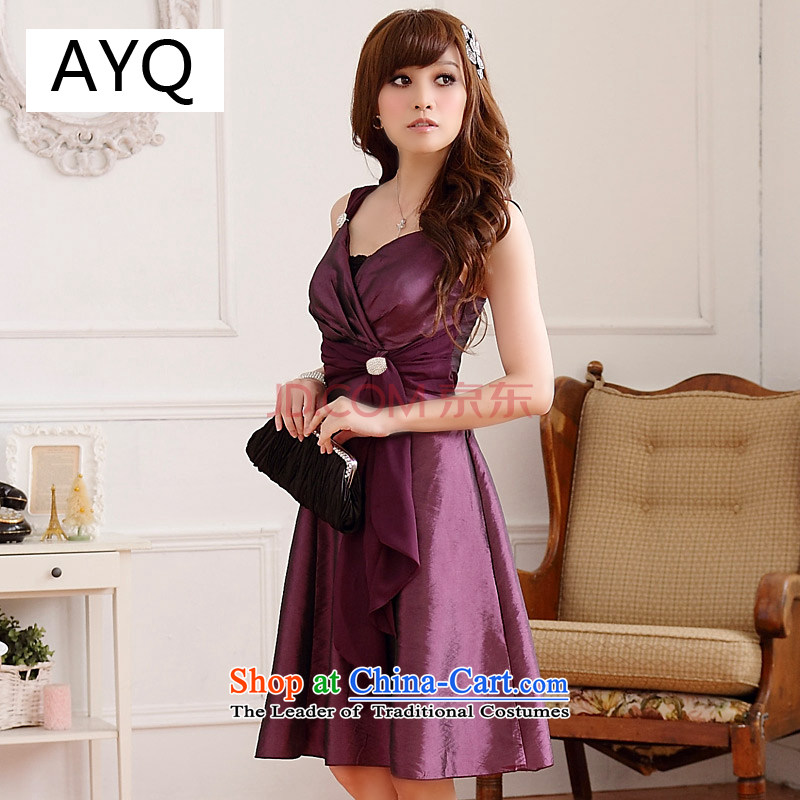 The Korean version of HIV have been qi evening out chest thin waist Sau San V-Neck xl dress skirt the strap can be removed from the Diamond Sisters _wrapped with chest_?9506A-1??XXXL Purple