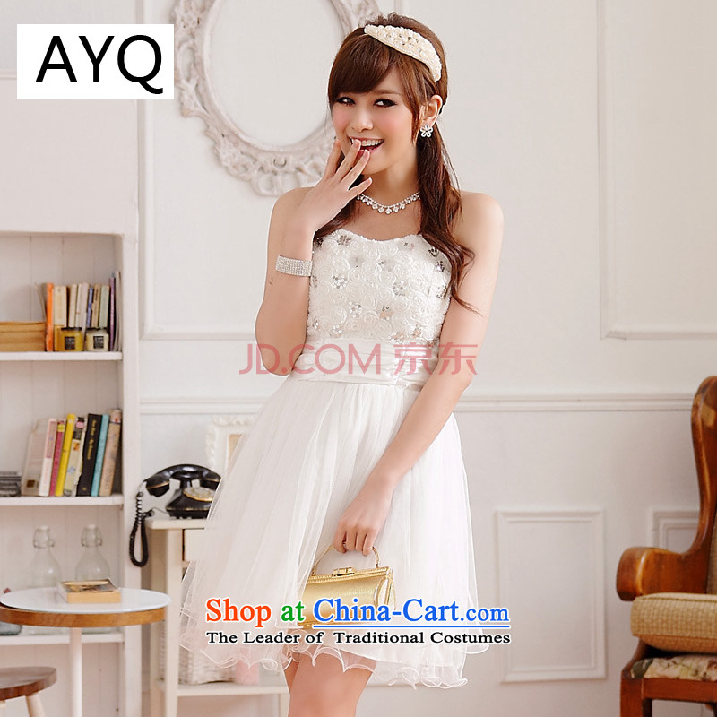Hiv has won on film version of qi web wedding dresses dresses bon bon skirts and chest sister bridesmaid skirt (sent stealth shoulder strap white XXXL 9100A-1)