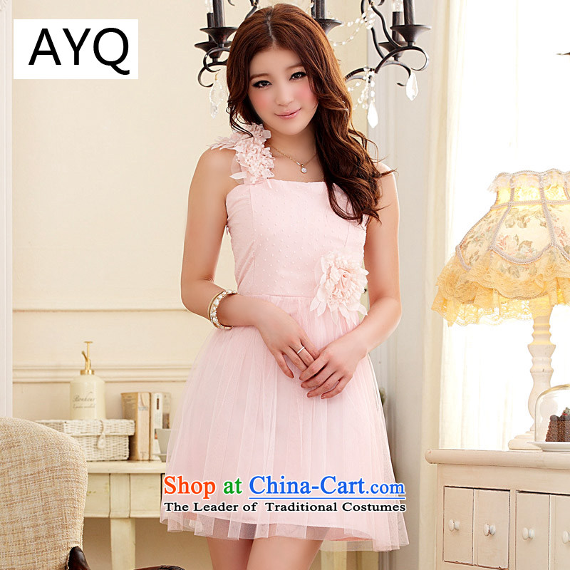 Hiv has been qi sweet lovely gauze princess skirt shoulder dress bows services services bridesmaid?9205A-1 sister?pink are code