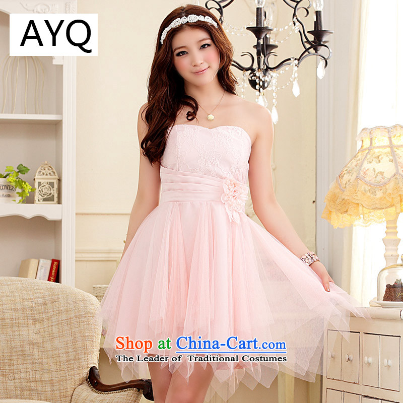 Hiv has anointed, Short Qi chest small dress sweet gauze princess skirt skirt the betrothal small dress (feed)�9103A-1 stealth with�pink�XL