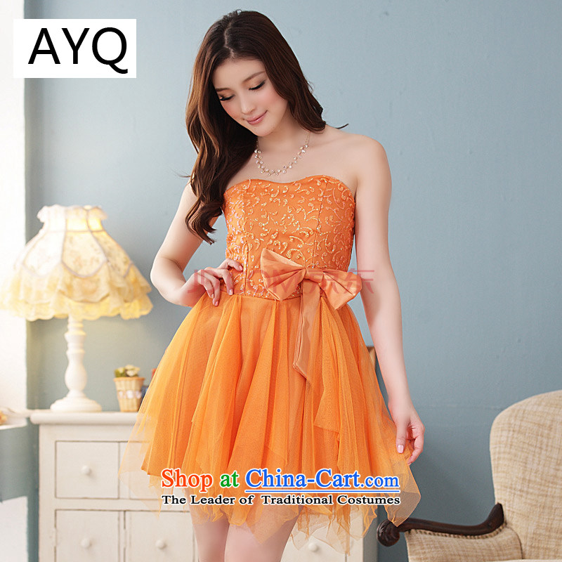 Hiv has large summer qi thick sister ball evening dress skirt wrapped chest small skirt swinging under irregular bon bon skirt聽9102A-1聽ORANGE聽XL