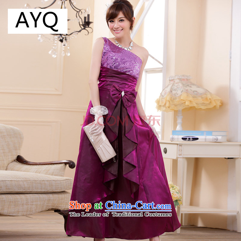 Hiv has been qi bridesmaid wedding dress shoulder bows to assemble dinner serving long on-chip suits skirts�9202A-1�PURPLE�XXL