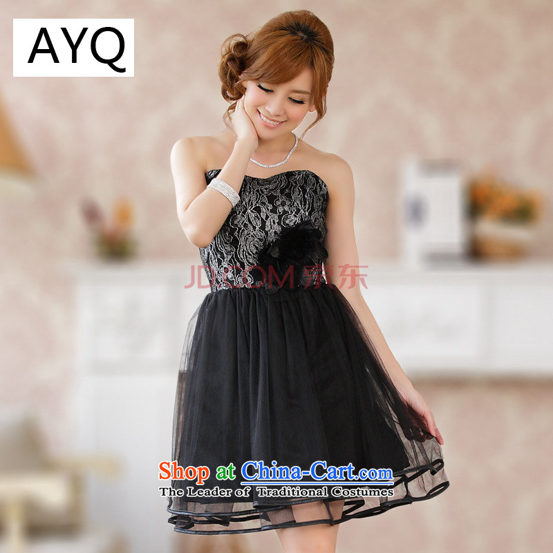 Hiv has been qi flowers Kim gauze bon bon skirts and chest, small countries such as short cut large bridesmaid skirt (sent stealth shoulder strap)�9203a-1�silver�XL