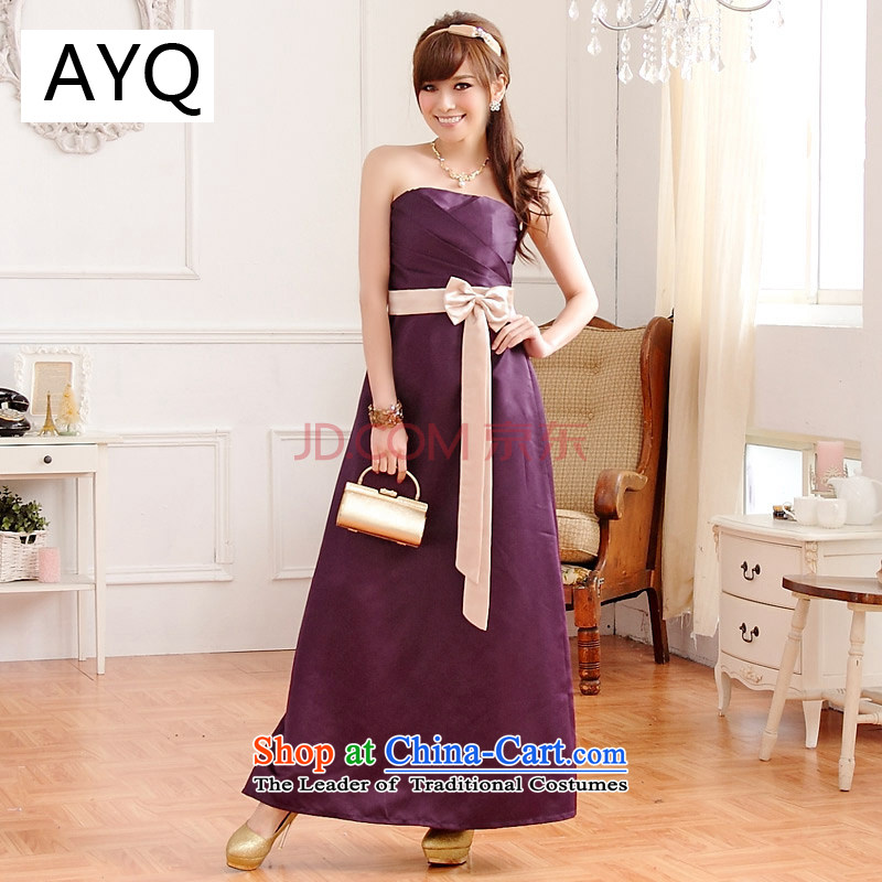 Hiv has been qi pressure folds spell color bow tie banquet betrothal long evening dresses and chest dresses bridesmaid skirt?9502A-1?PURPLE?XL