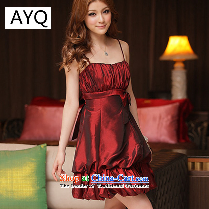 Hiv has been qi spring and summer princess to them attractive strap lanterns dresses bridesmaid skirt聽8419-1聽aubergine聽XL