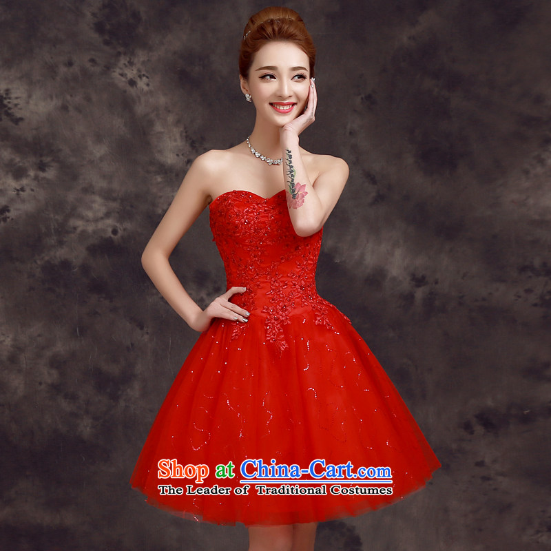 The privilege of serving the new 2015-Leung Chiu-Korean brides wedding dress bridesmaid mission in short, sister small dining dress red?S