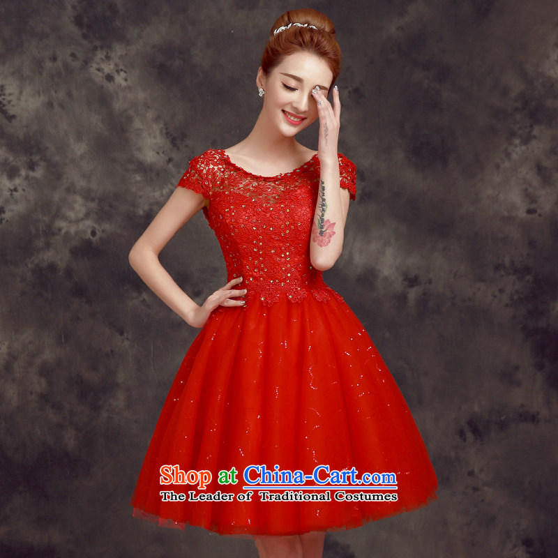 The privilege of serving-leung 2015 new spring and summer short_ bridesmaid mission sister mission bride wedding dress small dress bows services red聽S