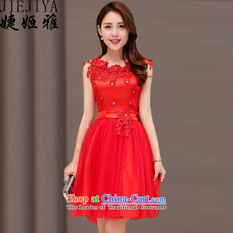 Suu Kyi Jacob involving dresses dress spring 2015 sleeveless style temperament wedding dresses bride bridesmaid at Sau San annual service bows dresses dress red?XL