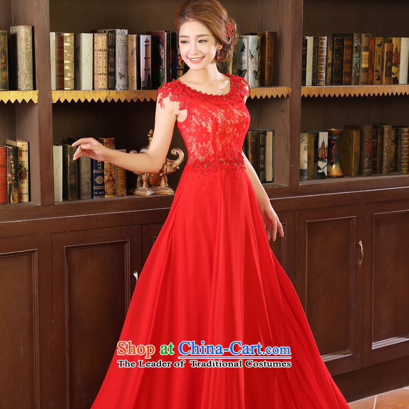 Wedding dresses new stylish 2015 Red bridesmaid bride long marriage bows Dress?Code Red L