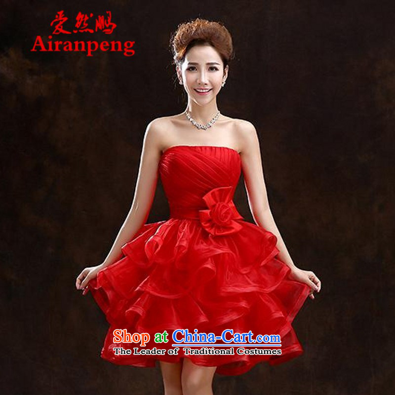 Love So Peng New 2015 bridesmaid Dress Short of marriage autumn and winter betrothal moderator evening dresses bridal dresses red bows red?XL