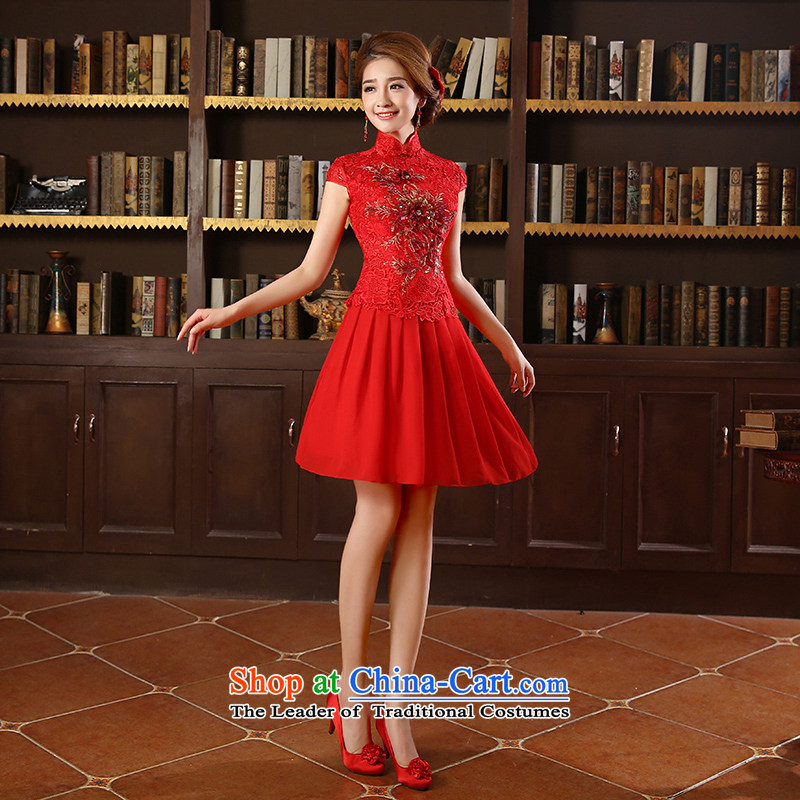 The new 2015 marriages gift qipao skirt Red Dress Short, bows and stylish red聽XL code