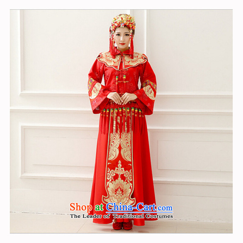 Shared Miss Cyd Wo Service guijin Keun-young bridal dresses red Chinese Antique bows to marry a long-sleeved Tang Dynasty Sau Wo service women wearing a red L code from Suzhou Shipment