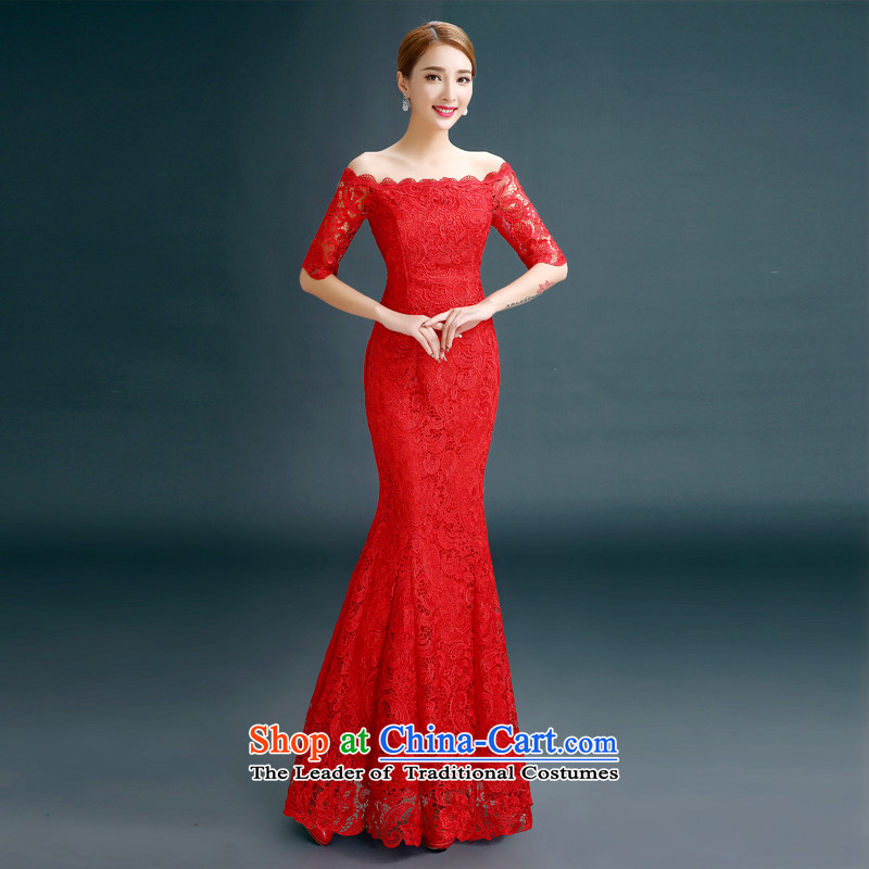 Gil beautiful?spring and summer 2015 new marriages one field shoulder bows tie long crowsfoot lace evening dress red?L