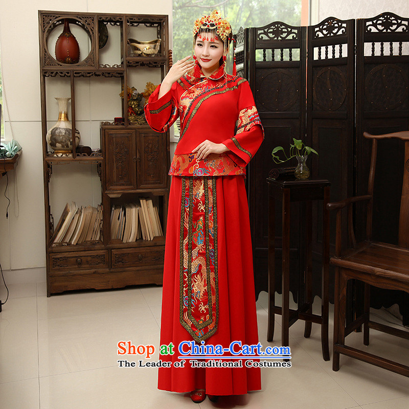 Shared Keun-soo Fashion girl groups guijin services improved Tang dynasty wedding retro wedding dress bride wedding dress uniform RED�M code bows from Suzhou Shipment