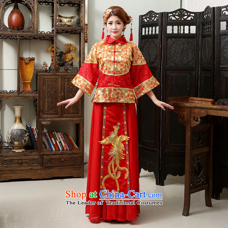 Shared Keun guijin bride autumn and winter-soo Wo Service Chinese Dress retro bows services gets married Yi Feng use hi-red�XL code from Suzhou Shipment