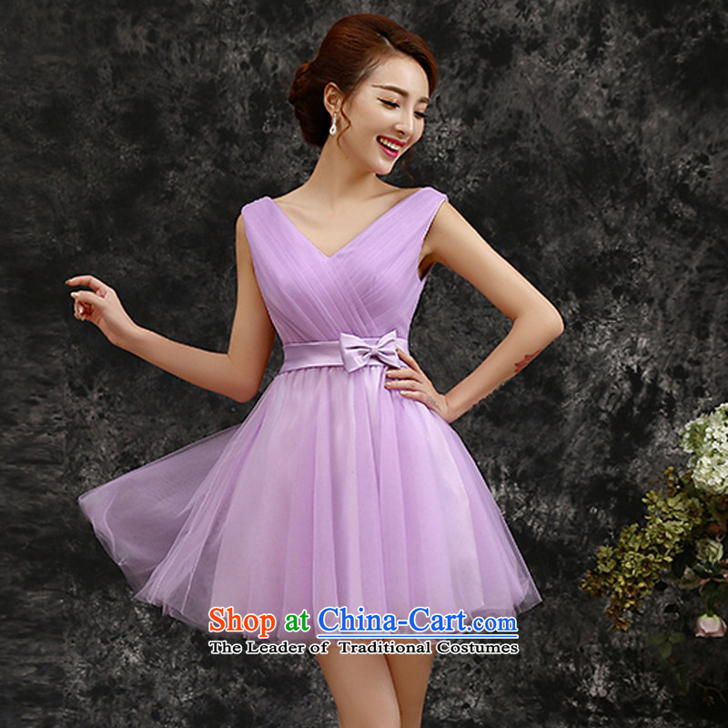 Gil beautiful�spring and summer 2015 new short of purple shoulders marriage bridesmaid dress evening dress skirt bridesmaids light purple�M