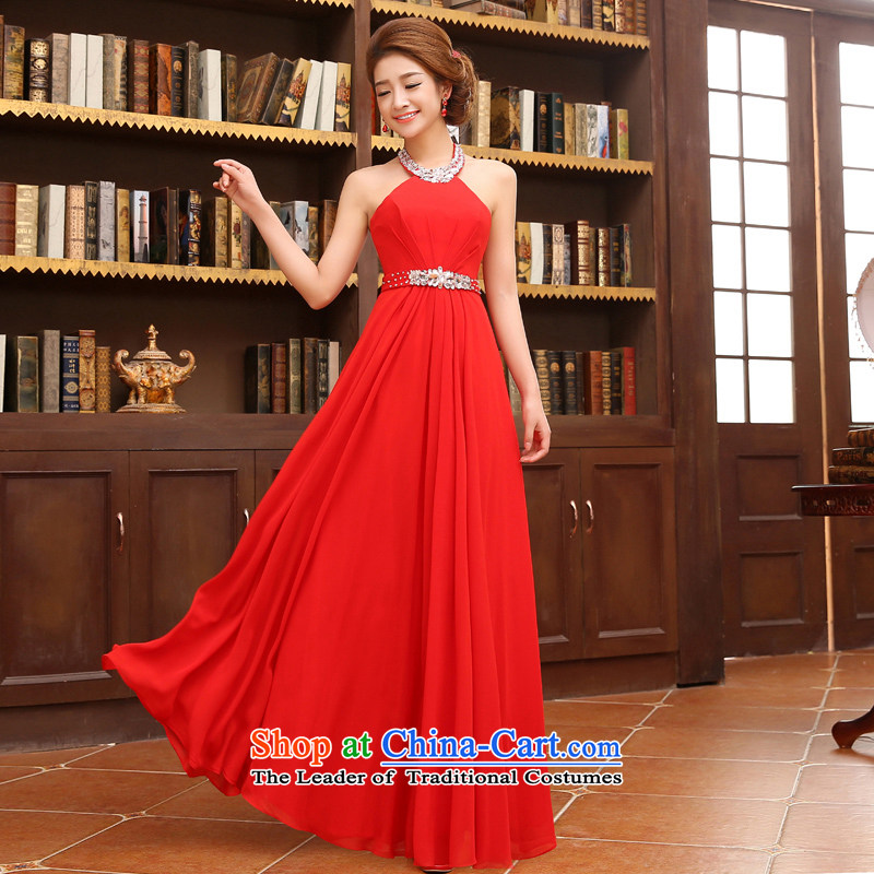 2015 new dresses red marriage Hang Long drill video also thin bride bows evening dresses white?L code