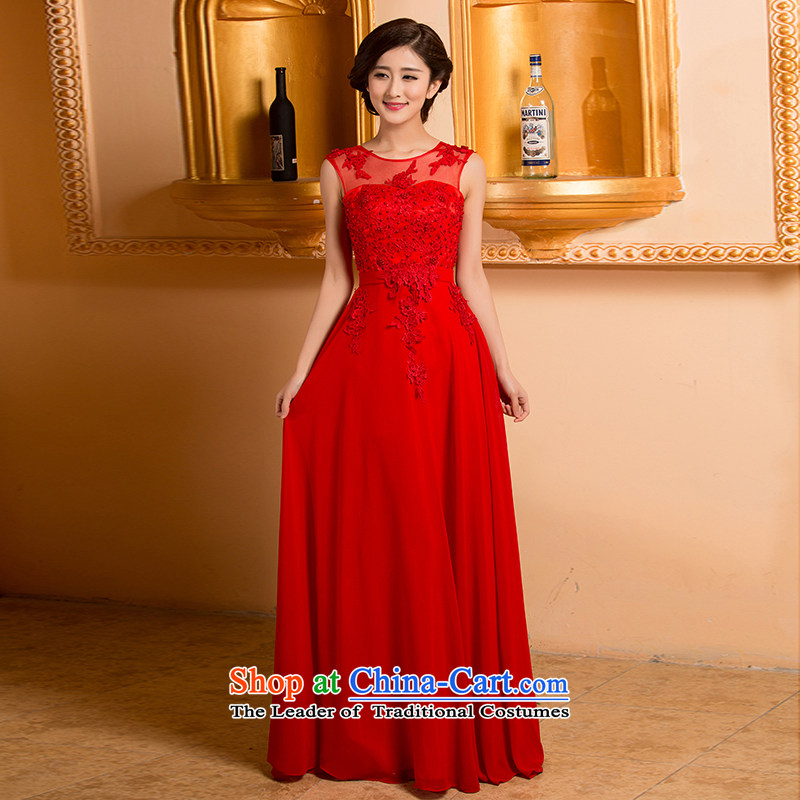 The Korean version of the stylish shoulder straps bride bridesmaid mission red long marriage bows DRESS?CODE RED M