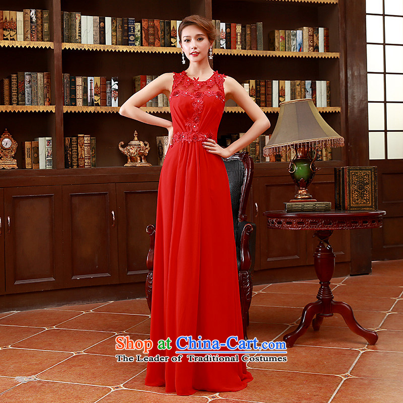 2015 Korean fashion shoulders straps flowers bride bridesmaid mission red long marriage bows Dress?Code Red L