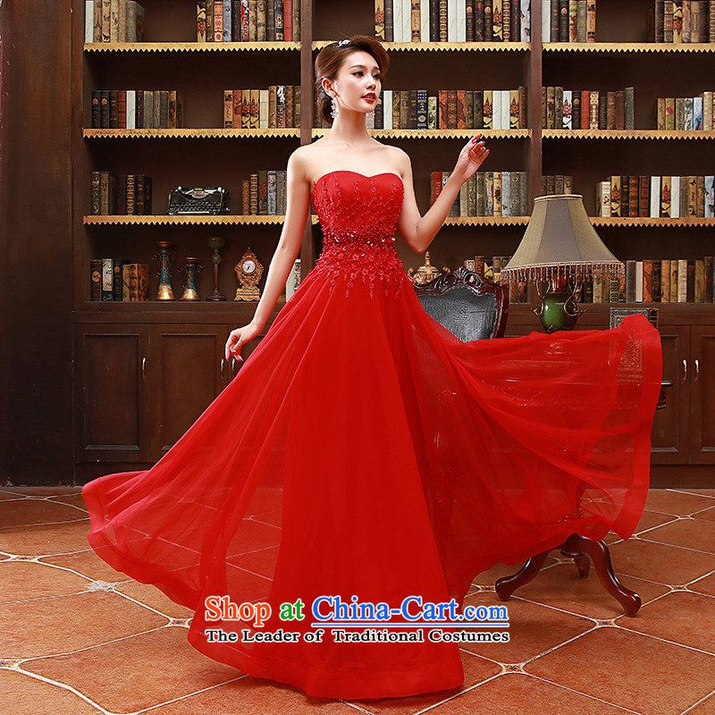 2015 Korean fashion and chest bride bridesmaid mission red long marriage bows Dress Code Red XL
