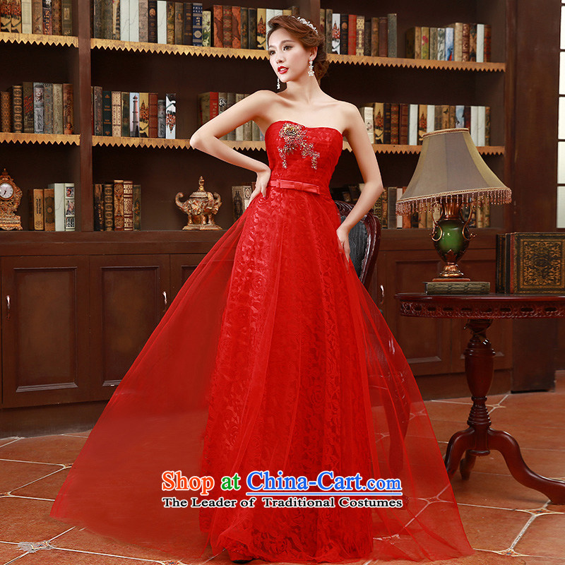 The Korean version of 2015 and chest embroidery bride bridesmaid mission red long marriage bows Dress?Code Red L
