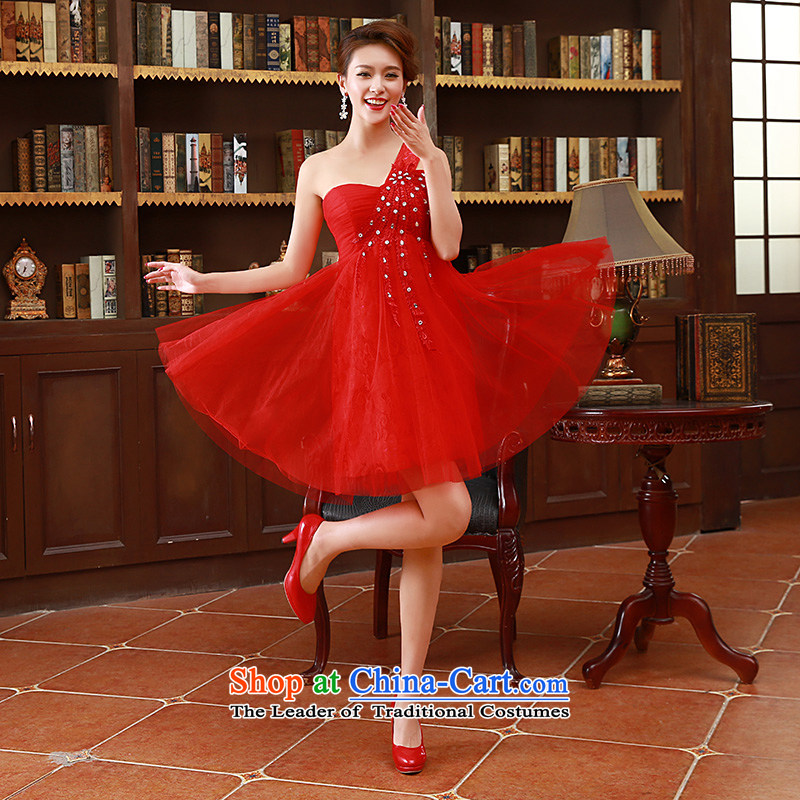 2015?Korean fashion shoulder straps bride bridesmaid short of marriage in red dress bows red?S code