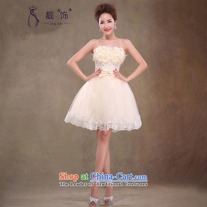 The new 2015 International Friendship bridesmaid services Korean short of the chest and dress skirt sweet drink service bride flowers champagne color made does not support replacement