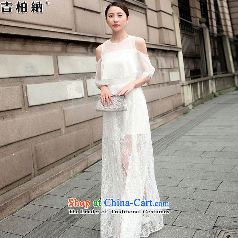 Gil werber 2015 Summer new temperament Sau San chiffon bare shoulders off the cuff lace long skirt dresses evening dresses 9943# female white L