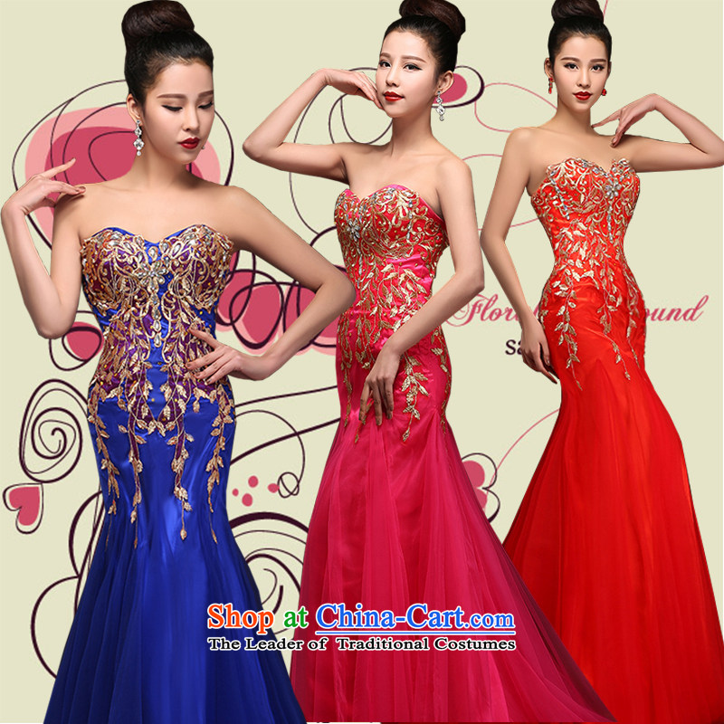 Hei Kaki�2015 new bows dress Korean anointed chest dress crowsfoot annual meeting was chaired by performing dress skirt� DJ26�BLUE�XXL
