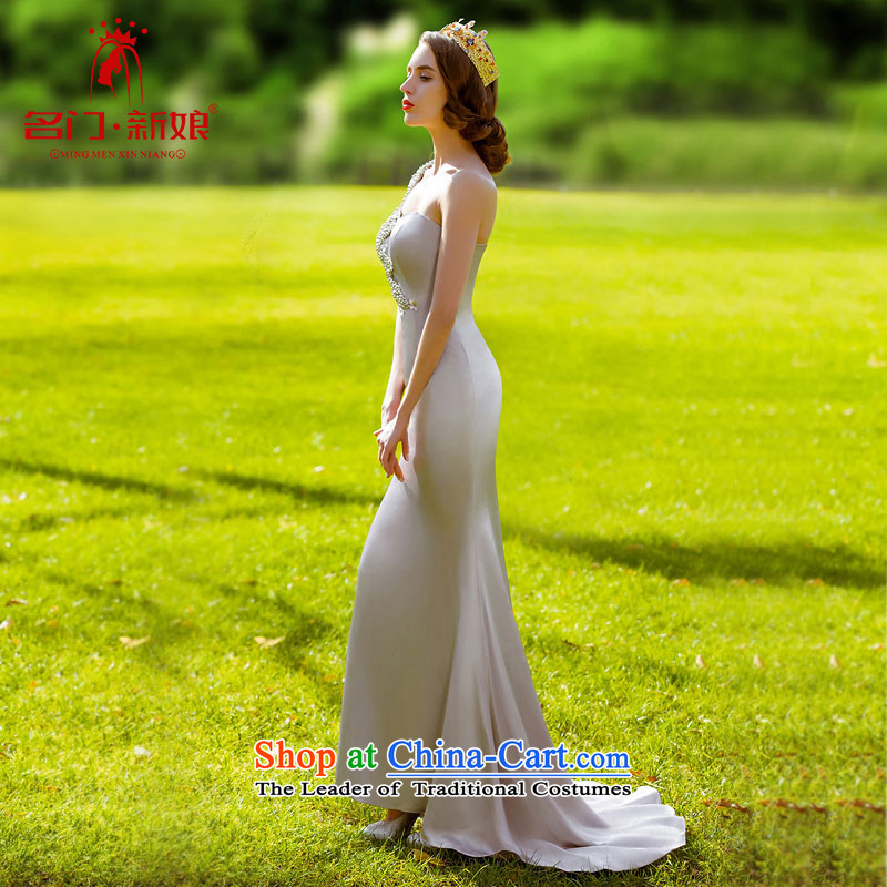 A?new bride 2015 Silver elegant dress small trailing dress shoulder elegant dress 695 S