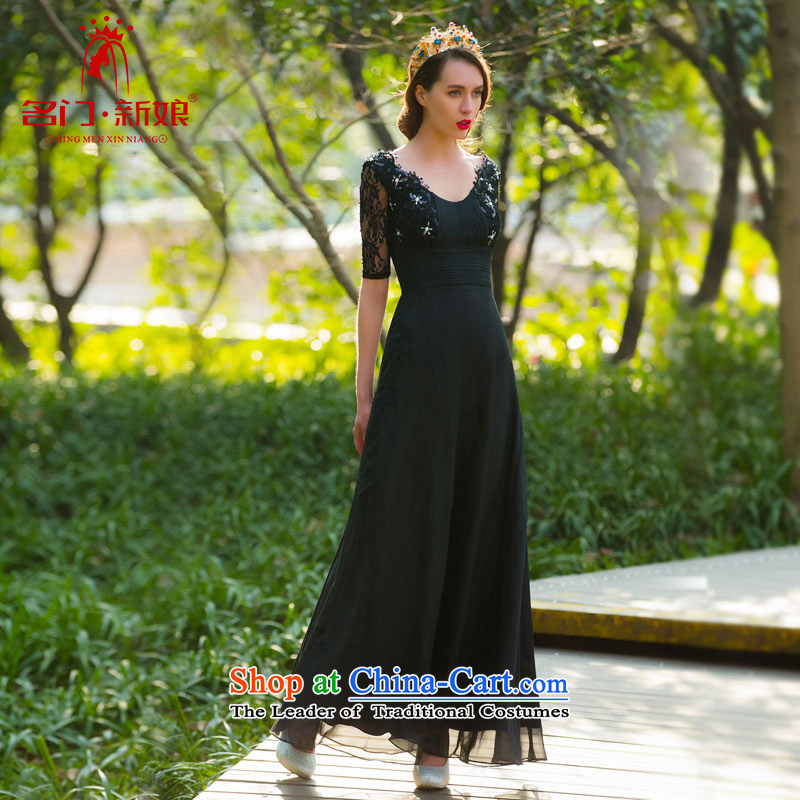 A?new dresses bride 2015 dinner serving long black dress, fifth cuff lace 581 M