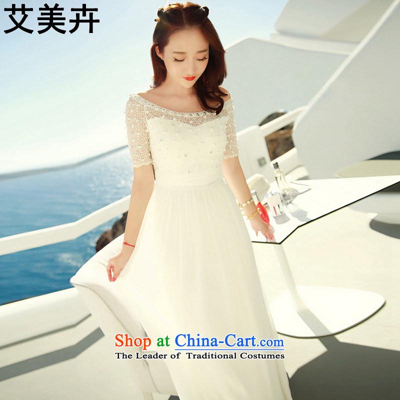 Amy Hui? 2015 Spring/Summer new bridesmaid skirt bridal dresses Sau San dress bows resort dresses video thin banquet long skirt White?M