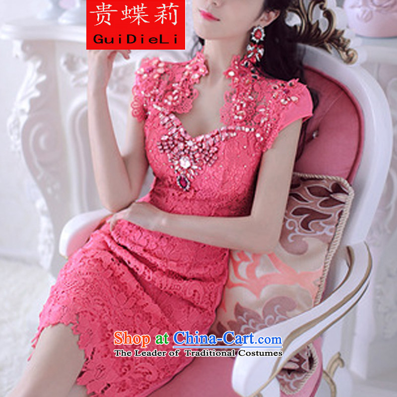 The butterfly li?2015 Diamond Lace Embroidery in red envelopes and dresses evening dresses in RED?M