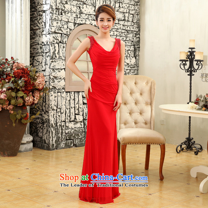2015 new stylish long shoulders V-Neck crowsfoot evening dresses girl will marry bows services red red�XL