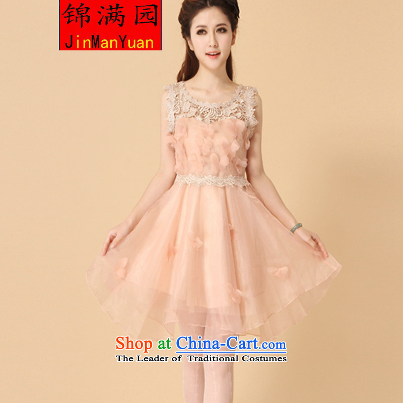 Kam Garden 2015 Korean lace the yarn dresses bon bon skirt princess skirt sleeveless bridesmaid small dress dress pink?M