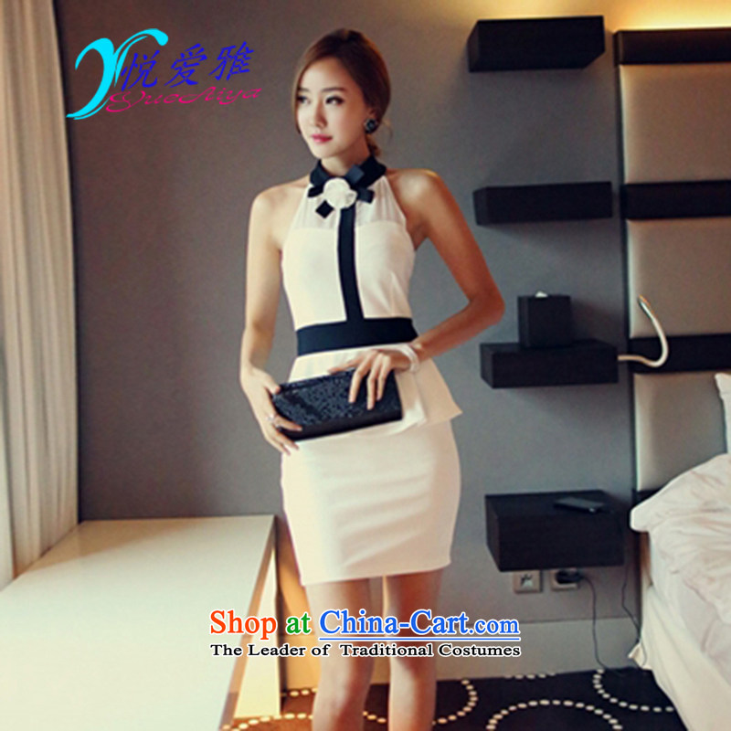 The Hyatt Regency love ya 2015 Summer new sexy night with chest flower fragrance small wind dresses and stylish look small DR6751 dress code are white
