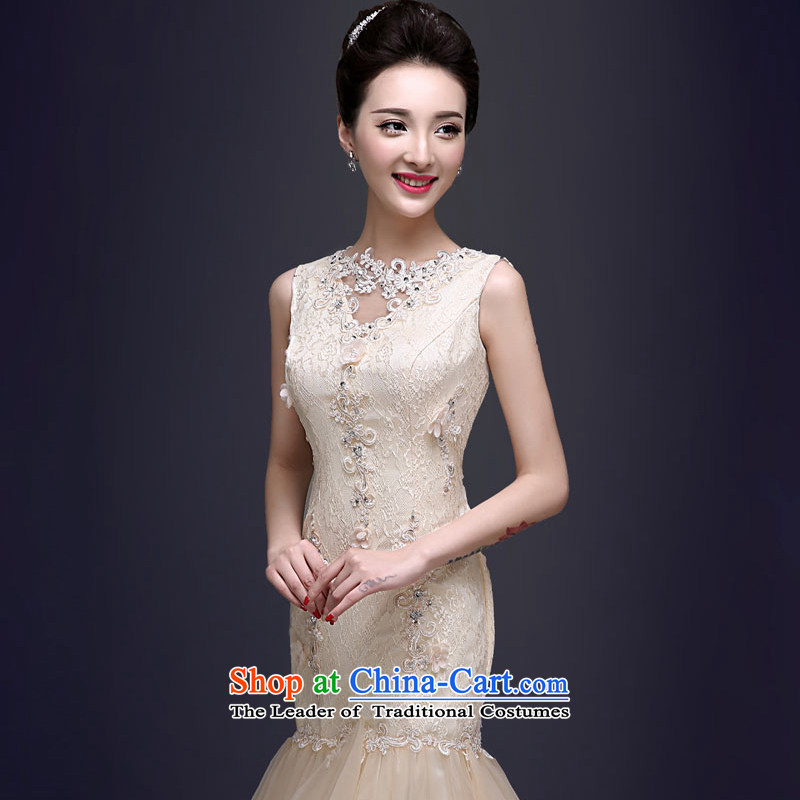 The privilege of serving the new 2015-Leung Ms. spring and summer evening dress long banquet crowsfoot annual meeting of persons chairing the Sau San dress champagne color 2XL