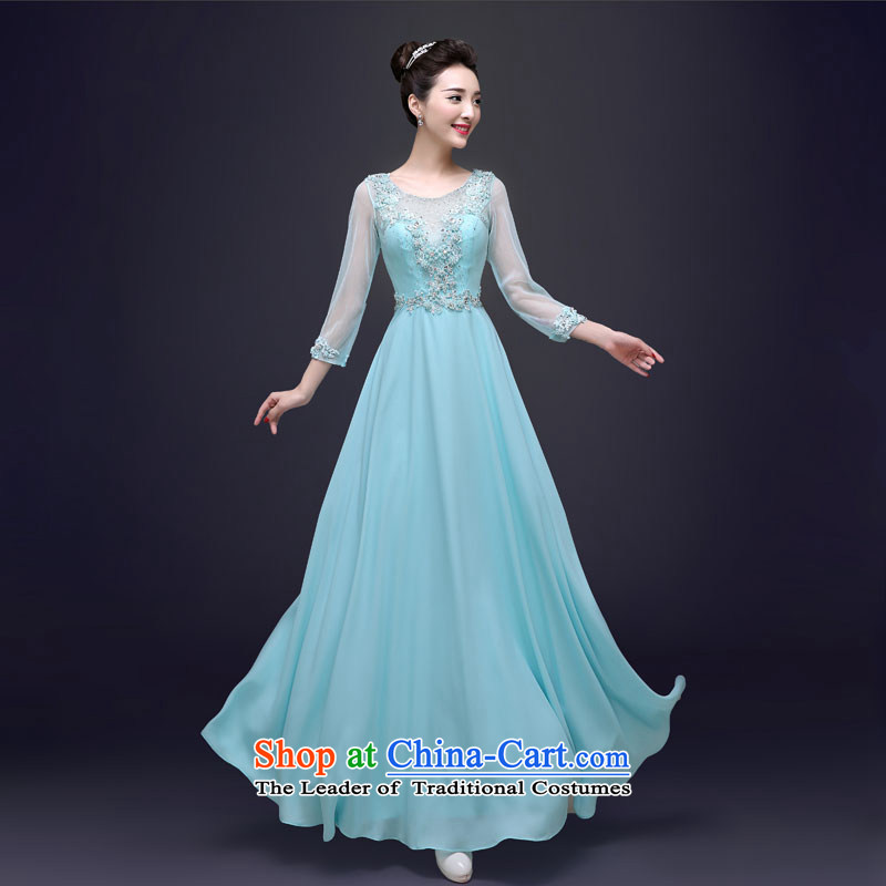 The privilege of serving-leung, the summer and fall of 2015 new stylish Banquet exclusive evening dress Sau San Ms. long moderator dress blue�2XL